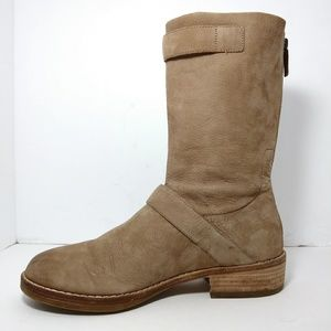 Eileen Fisher Beige Leather Moto Log Boots Size 9